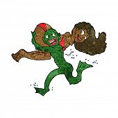 cartoon swamp monster carrying girl in bikini