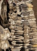 Antique aged and tarnished silver cutlery