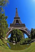 The most famous in the world - the Eiffel Tower. Beautifully photographed from below fisheye lens