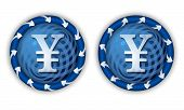 Set Two Icons With Arrows And Transparent Yen Symbol
