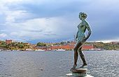 Statue Of Naked Woman In Stockholm Near The Water, Sweden