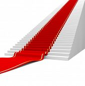 Red carpet on the success ladder. Concept. 3d illustration