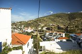 ANDROS, GREECE - APR 29, 2014: View of Andros, is the northernmost island of the Greek Cyclades arch