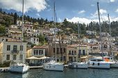 POROS, GREECE - APR 30, 2014: Marina of Poros, is a Greek island in southern part of Saronic Gulf, s