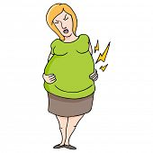An image of labor pain pregnancy woman.