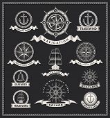 stock photo of wind wheel  - Vintage nautical labels - JPG