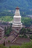 The Gigantic White Stupa Of Tayuan Temple In Wutai Shan, China