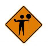 road sign - flagman ahead