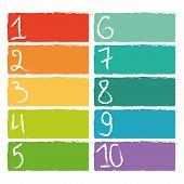 picture of ten  - Set of ten colorful numerical rectangles on white background - JPG