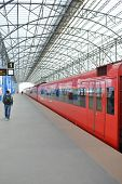 MOSCOW - MARCH 30: Aeroexpress red train in Sheremetyevo Airport on March 30, 2014 in Moscow. Sherem