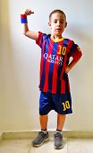 Boy In Barcelona Football Uniform