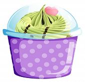 Illustration of a lavender cupcake container on a white background