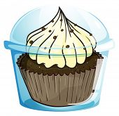 Illustration of a cupcake inside the blue disposable container on a white background