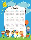 pic of august calendar  - Cute calander on 2015 year with happy kids - JPG