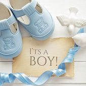 stock photo of baptism  - baby shower decoration  - JPG