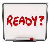 Ready word and question mark prepared for a test, trip or other special or important event