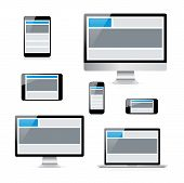 pic of smart grid  - Modern isolated electronic devices with responsive web design grid - JPG