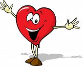 Funny Heart Cartoon Standing With Open Arms