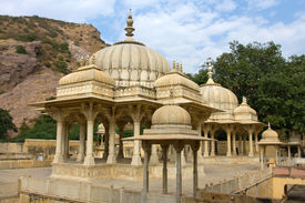 picture of gator  - Memorial grounds to Maharaja Sawai Mansingh II and family constructed of marble - JPG