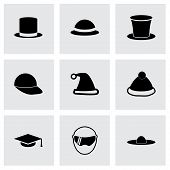 Vector helmet and hat icon set