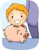 Illustration Featuring a Boy Holding a Piggy Bank