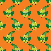 Seamless flying fantasy dragon kids retro illustration background pattern design in vector