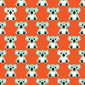 Seamless retro colorful koala bear baby illustration kids background pattern in vector