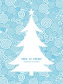 Vector abstract swirls Christmas tree silhouette pattern frame card template