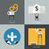 Set of flat design concept images for infographics, business, web, travel, banking, resource