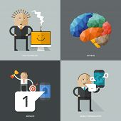 Set of flat design concept images for infographics, business, web, education, mobile marketing, ai, high technology