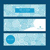 Vector abstract swirls horizontal banners set pattern background