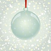 Christmas Ball With Ribbon Hanging On Snowflakes Background