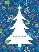 Vector colorful doodle snowflakes Christmas tree silhouette pattern frame card template