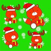 sweet xmas fox baby cartoon set