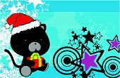 panther baby cartoon xmas background