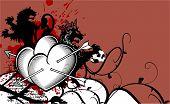 heraldic heart arrows crest background7