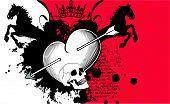 heraldic heart arrows crest background3