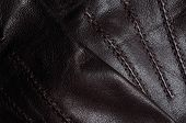 Brown leather gloves detail