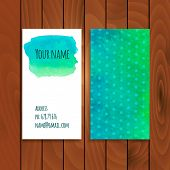 Two watercolor cards template