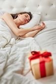 Christmas gift on the bed