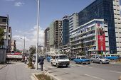 ADDIS ABABA, ETHIOPIA-OCTOBER 31, 2014; Unidentified people go about their business in downtown Addis Ababa, Ethiopia