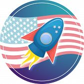 Cartoon rocket 3D vector illustration