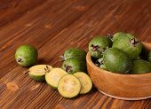 Fruits Of Feijoa In A Wooden Bowl