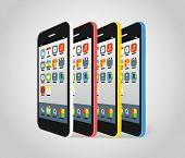 Modern smartphone different colors