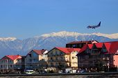 stock photo of sochi  - landing of airplane in Adler - JPG