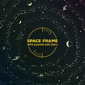 Retro futuristic frame with space, stars and planets