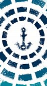 Marine grunge illustration of anchor in a striped frame in blue and white, vertical business card, v