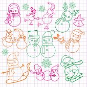 Christmas Doodles With Snowmen-illustration