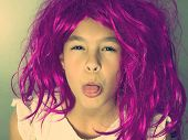 funny girl with pink wig