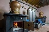 During Traditional Distillation Of Alcohol And Production Of Homemade Tsipouro/raki